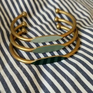 Brass and enamel ombre bracelet trio